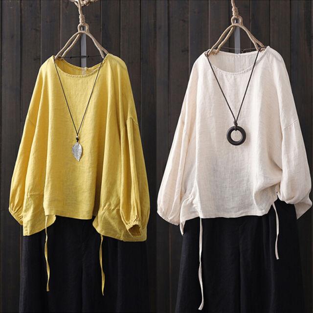 ZANZAN Women Lantern Sleeve Casual Plain Shirt Tops Round Neck Loose Blouse Plus