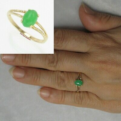 14k Solid Yellow Gold Cabochon Cut 15 X 18mm Oval Green Jade Solitaire Ring TPJ