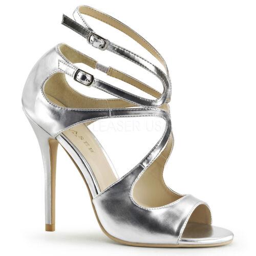 Pleaser AMUSE-15 Women/'s Silver Met Pu High Heels Strappy Cutout Detail Sandals