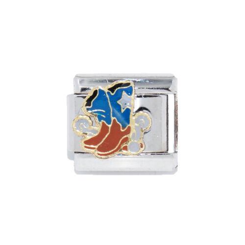 fits 9mm Classic Italian charm bracelets Blue Cowboy boots Italian Charm