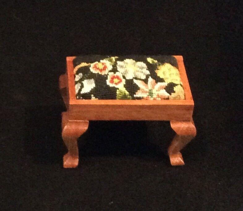 Miniature Dollhouse stool with antique petit point - needlepoint.