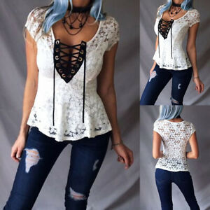 Women-039-s-Sexy-V-Neck-Bandage-Tops-Ladies-Short-Sleeve-Floral-Lace-Blouse-T-Shirt