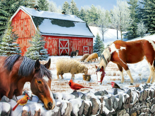Wintering at the Farm 300pc Jigsaw Puzzle By Sunsout NEW