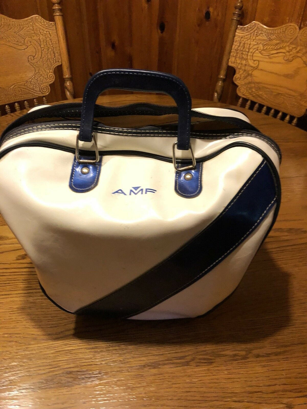 AMF Strikeline Bowling Ball And Vintage Bag