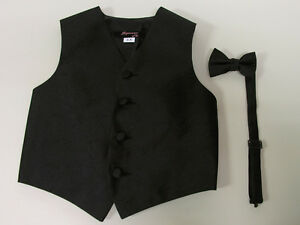 Vest Boys Black Satin Full Back Bow Tie Tuxedo Ring Bearer Wedding Party