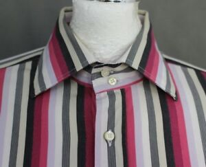 ETRO-MILANO-Mens-Pink-Striped-SHIRT-Size-42-Large-L-Made-in-Italy