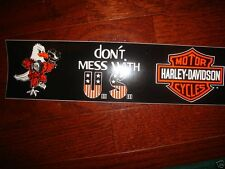 """3 LOT HARLEY DAVIDSON VINTAGE DON'T MESS WITH U.S. BUMPER STICKERS 11.5 X 3"""" NEW"""
