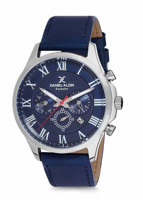 Daniel Klein - Men's Blue Leather Strap Blue Dial Chronograph Watch 5 ATM