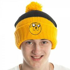 Licensed Adventure Time Jake Yellow and Black Cuffed Beanie Style Knit Hat Cap