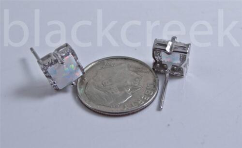 Argent Sterling 925 2tcw Princesse lab White Fire Opal Solitaire Boucles D/'oreilles Clou