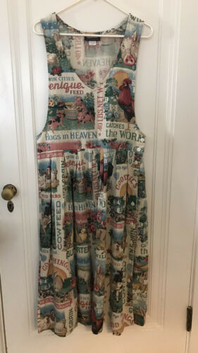 Vintage Feedsack Farm Print Cottage Core Jumper Dr