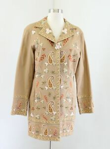 Tan-Ornate-Paisley-Print-Floral-Embroidered-Jacket-Car-Coat-Coldwater-Creek-12