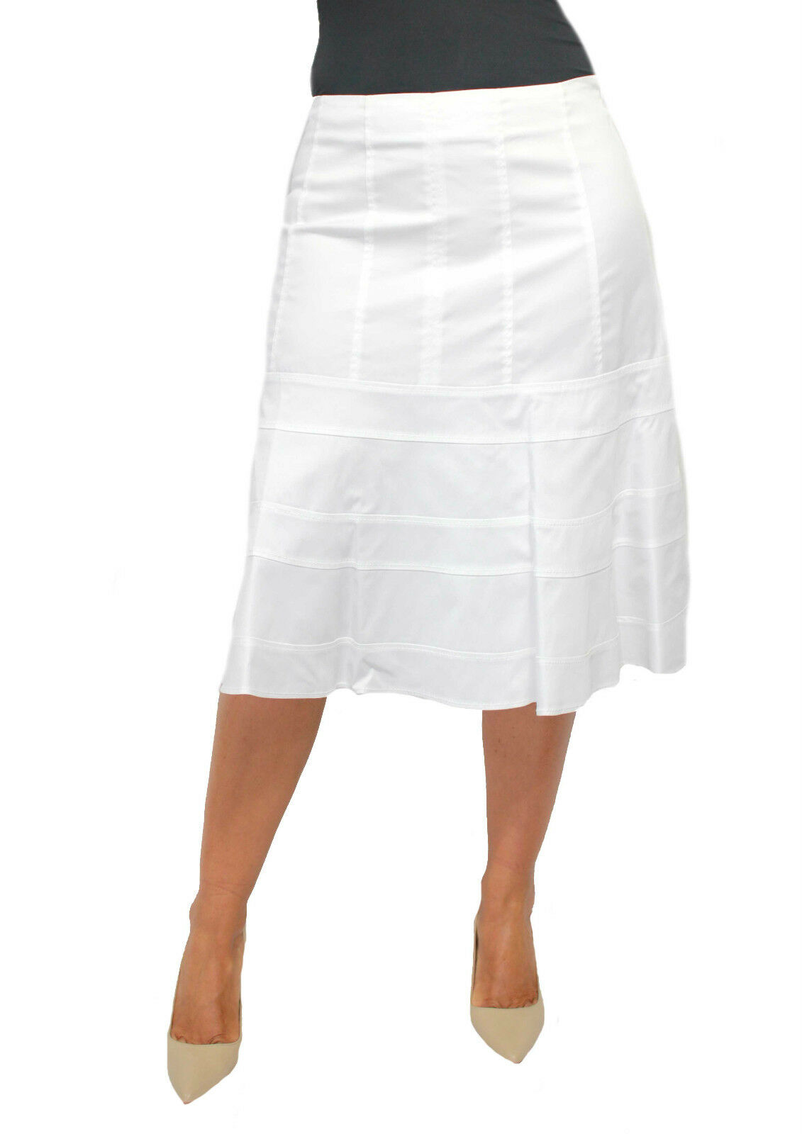 Max Mara Skirt White 97%Cotton 3%Elastane