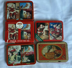 Vtg. Coca Cola Christmas Limited Edition Tin Decks Of Playing Cards Lot Of 5