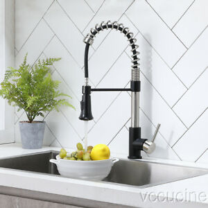 Single Handle Brushed Brushed Matte Black Pull Down Sprayer Kitchen Sink Faucet Ebay
