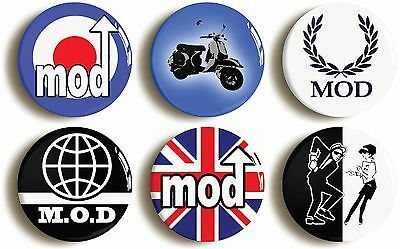6 x MOD SIXTIES RETRO BADGES BUTTONS PINS (1inch/25mm) 1960s FANCY DRESS PARTY