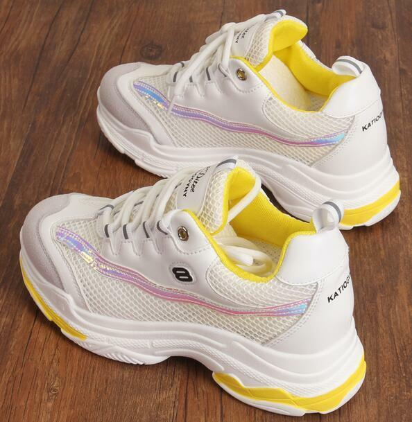 Womens Mixed Colors Thicken Sole Trainers Fashion Sneakers Lace Up Shoes HOT D97