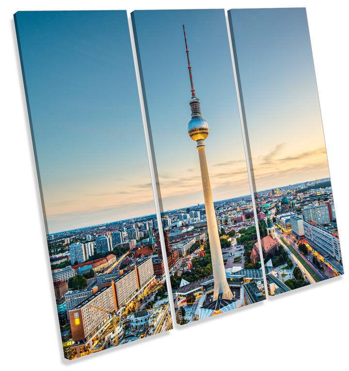 Berlin Cityscape Skyline TREBLE CANVAS WALL ART Square Print Picture