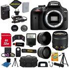 Nikon D3400 Digital SLR Camera 3 Lens Kit 18-55 VR Lens+32GB Value Bundle+MORE!