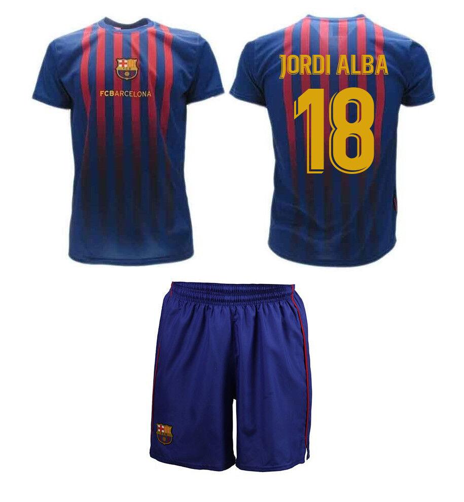 Completo Maglia + Calzoni Calcio JORDI ALBA Ufficiale Barcellona 2019 BARCA