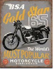 """12.5"""" X 16"""" TIN SIGN BSA 65 GOLD STAR MOST POPULAR MOTORCYCLE METAL SIGN NEW"""
