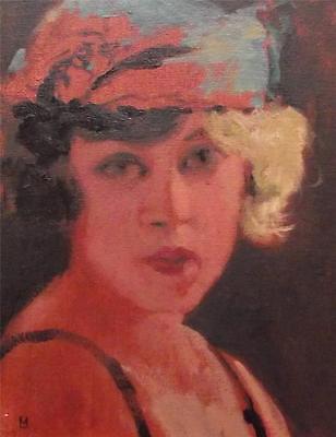 """1920s Jazz Flapper :Nostalgic Lady Original Oil Painting by Nigel Mason 10"""" X 8"""""""