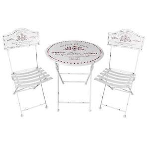 Set tavolino + due sedie metallo bistrot bianco con stampa design ...