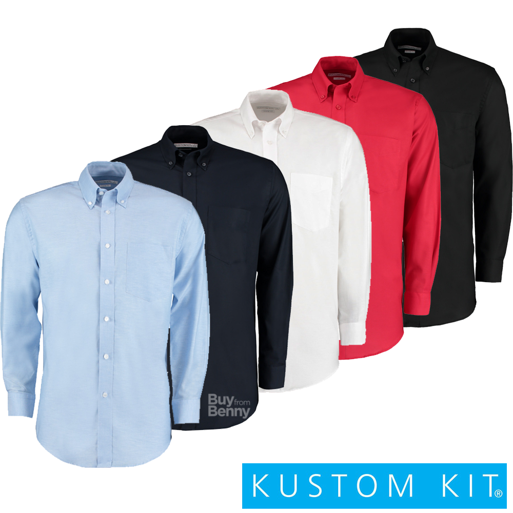 KUSTOM KIT MEN'S SMART SHIRT OFFICE LONG SLEEVE BUTTON DOWN COLLAR POCKET SIZES