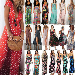 Womens-Vintage-Spotted-Short-Sleeve-Long-Maxi-Ladies-Boho-Holiday-Party-Dress