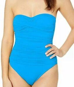 NWT-La-Blanca-Chambray-Goddess-Bandeau-One-Piece-Swimsuit-Women-039-s-Sz-8