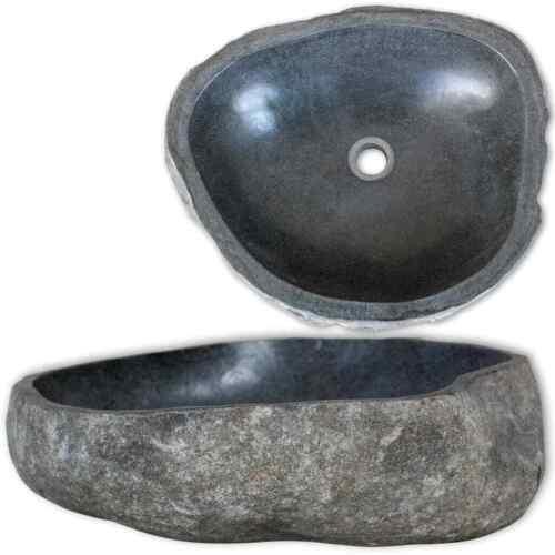 Waschbecken Flussstein Oval 38-45cm Naturstein Waschschale Waschtisch