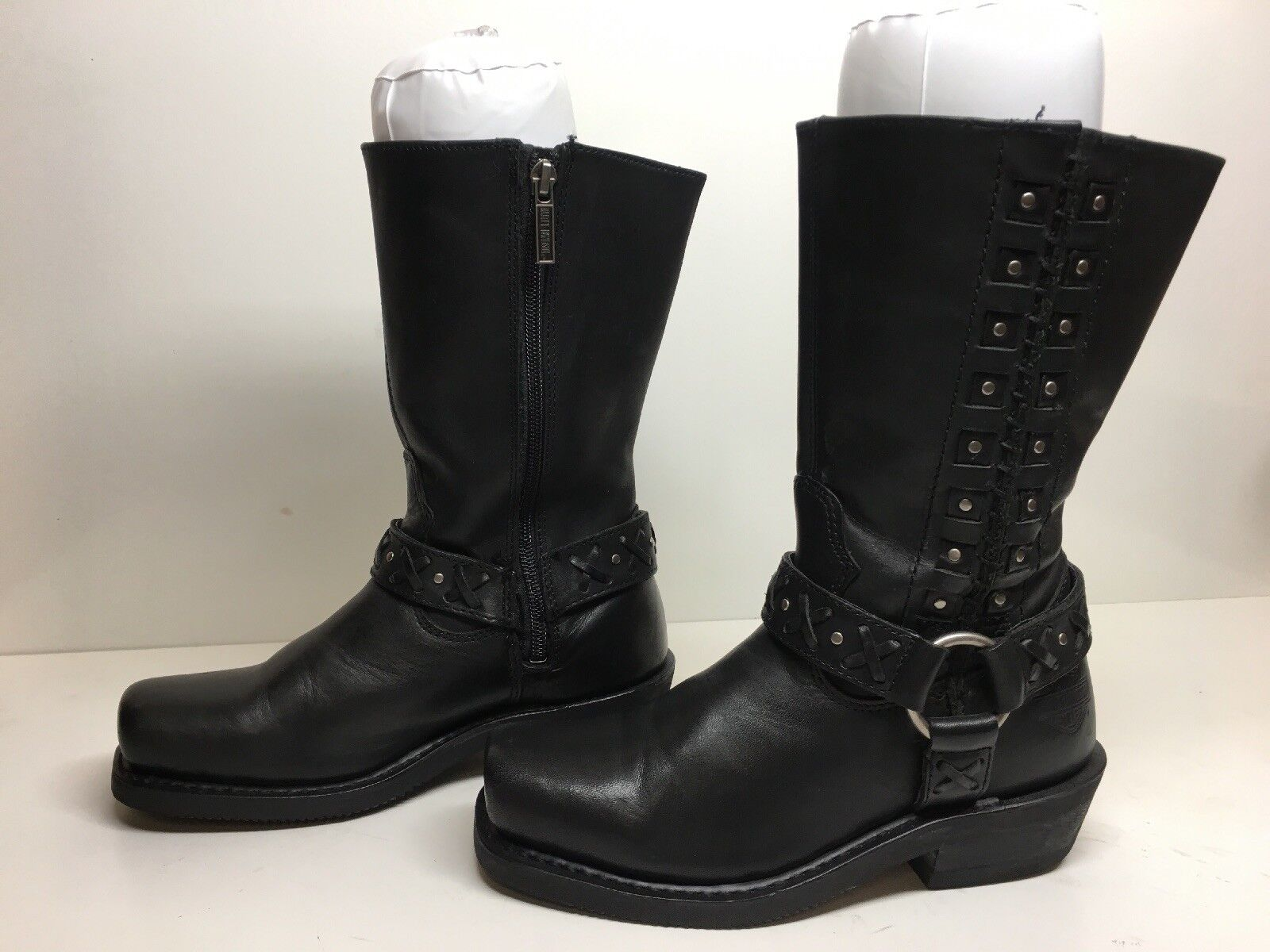 VTG WOMENS HARLEY DAVIDSON SQUARE TOE HARNESS MOTORCYCLE BLACK BOOTS SIZE 6.5
