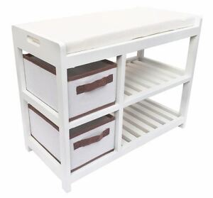 Benches/Stools Assembled White Kid Bedroom Hallway Flower Padded Seat Stool Bench Shoe Cabinet
