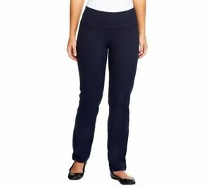Women with Control Regular Slim Leg Pants w// Tummy Control Black Large Size QVC