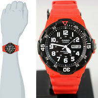 Casio Mrw-200hc-4b Red Analog Sport 100m Wr Watch Day And Date Neo Display