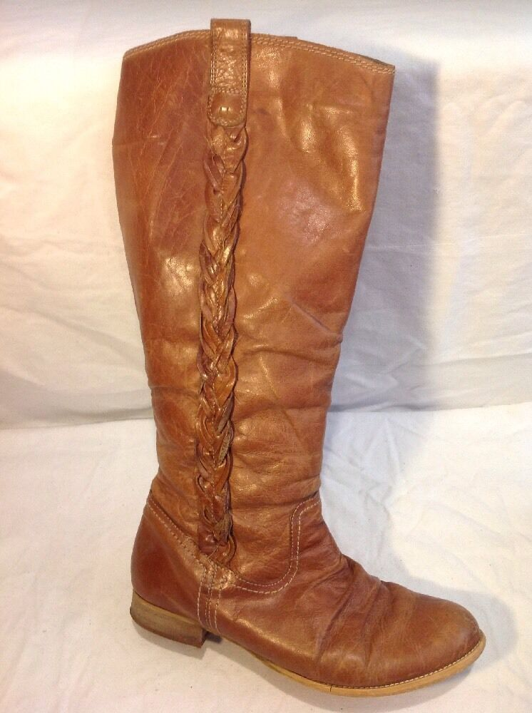 Next Brown Knee High Leather Boots Size 6