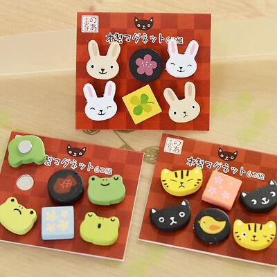 6 bunny cat frog rabbit bird wooden fridge magnet cute