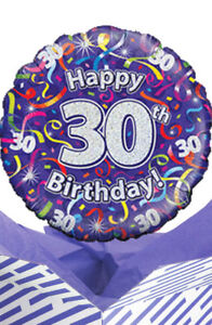 Image Is Loading 30th Birthday Streamers Balloon In A Box Gift
