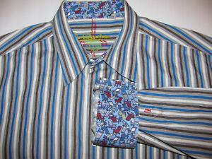 Robert-Graham-MEN-BLUE-WHITE-STRIPE-Lawn-Chair-FLIP-CUFF-LONG-SLEEVE-Shirt-XL