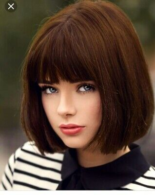 Brown Fashion Student Hairstyle Short Straight Hair With Flat Bangs Full Wig Bob Ebay