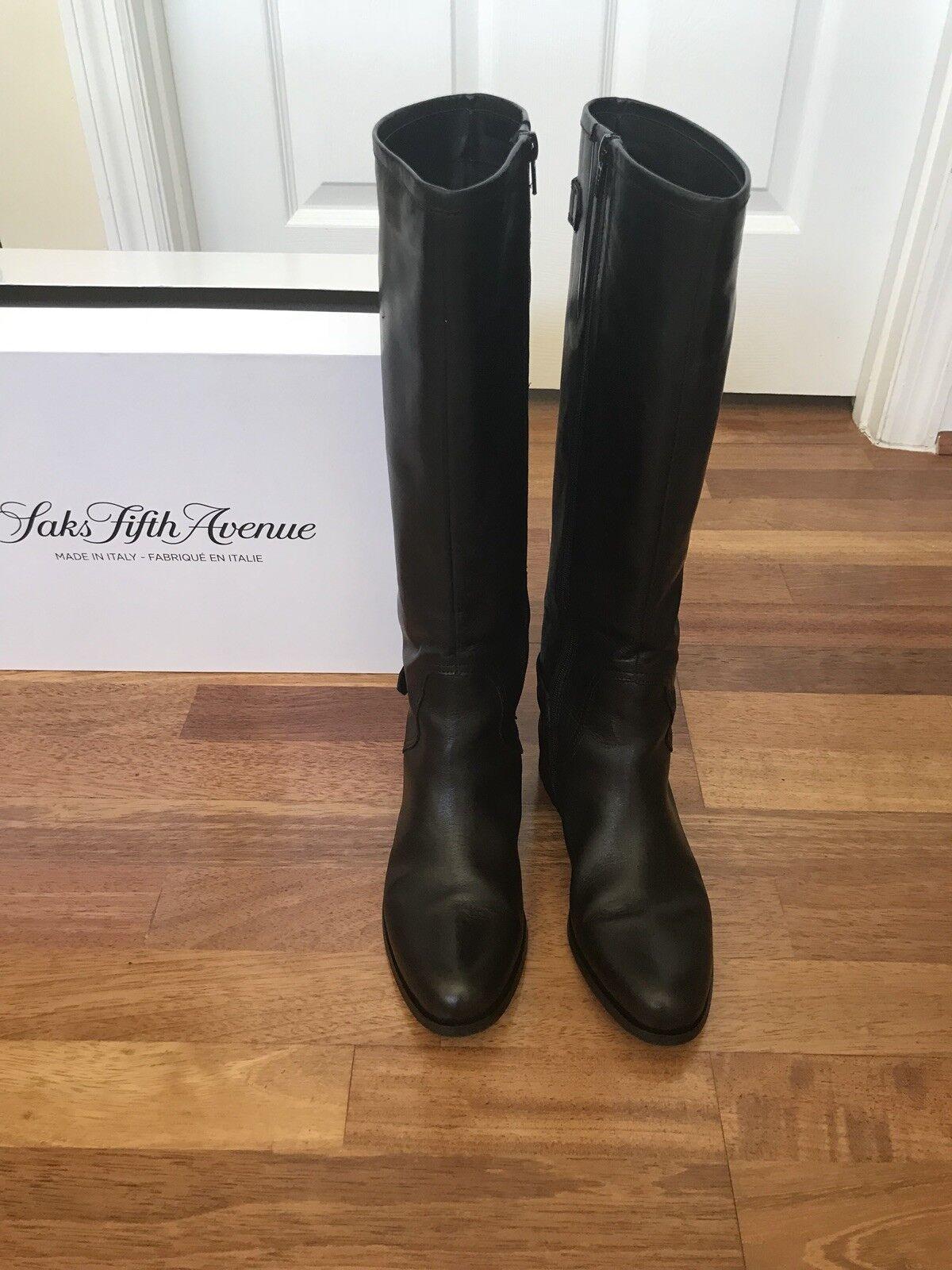 sconto online di vendita Saks Fifth Avenue nero Leather Leather Leather Tall stivali Made in   salutare