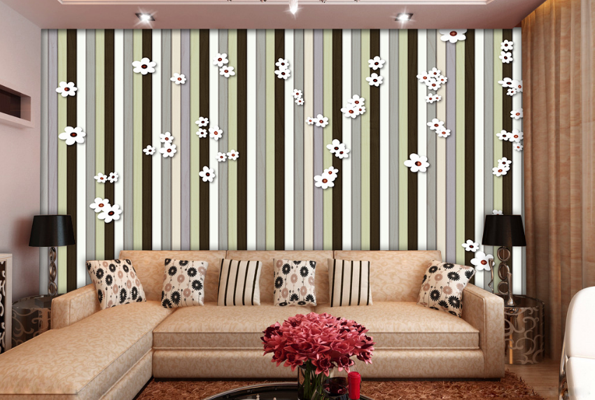 3D Stripeds Flowers 73 Wall Paper Murals Wall Print Wall Wallpaper Mural AU Kyra