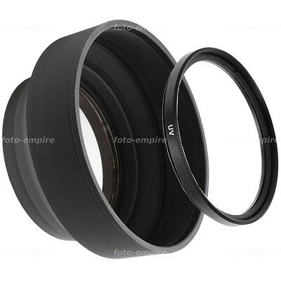 52mm filtro UV /& parasol parasol lens Hood einschraubanschluss