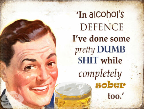 IN ALCOHOL AND MY  DEFENCE HOME DECOR:KITCHEN GREAT GIFT FUNNY METAL SIGN
