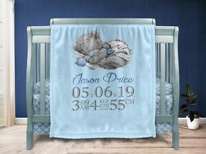Personalised Baby Boy Gift Throw Blanket Keepsake Blue/BIB