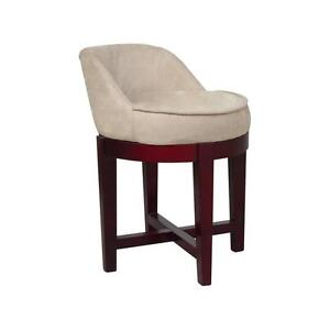 Prime Details About Swivel Chair Stool With Beige Faux Suede Upholstery Cherry Pabps2019 Chair Design Images Pabps2019Com