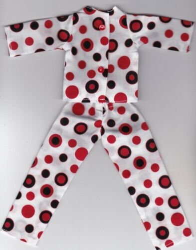 Doll Clothes-Red and Black Dots Print Pajamas that fit Barbie-Homemade BP2