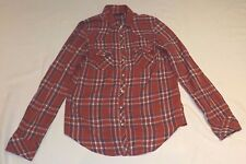 "TOPSHOP UK 10 EUR 38 RED BLUE TARTAN CHECK SHIRT TOP LONG SLEEVE CHEST 34"" 86cm"