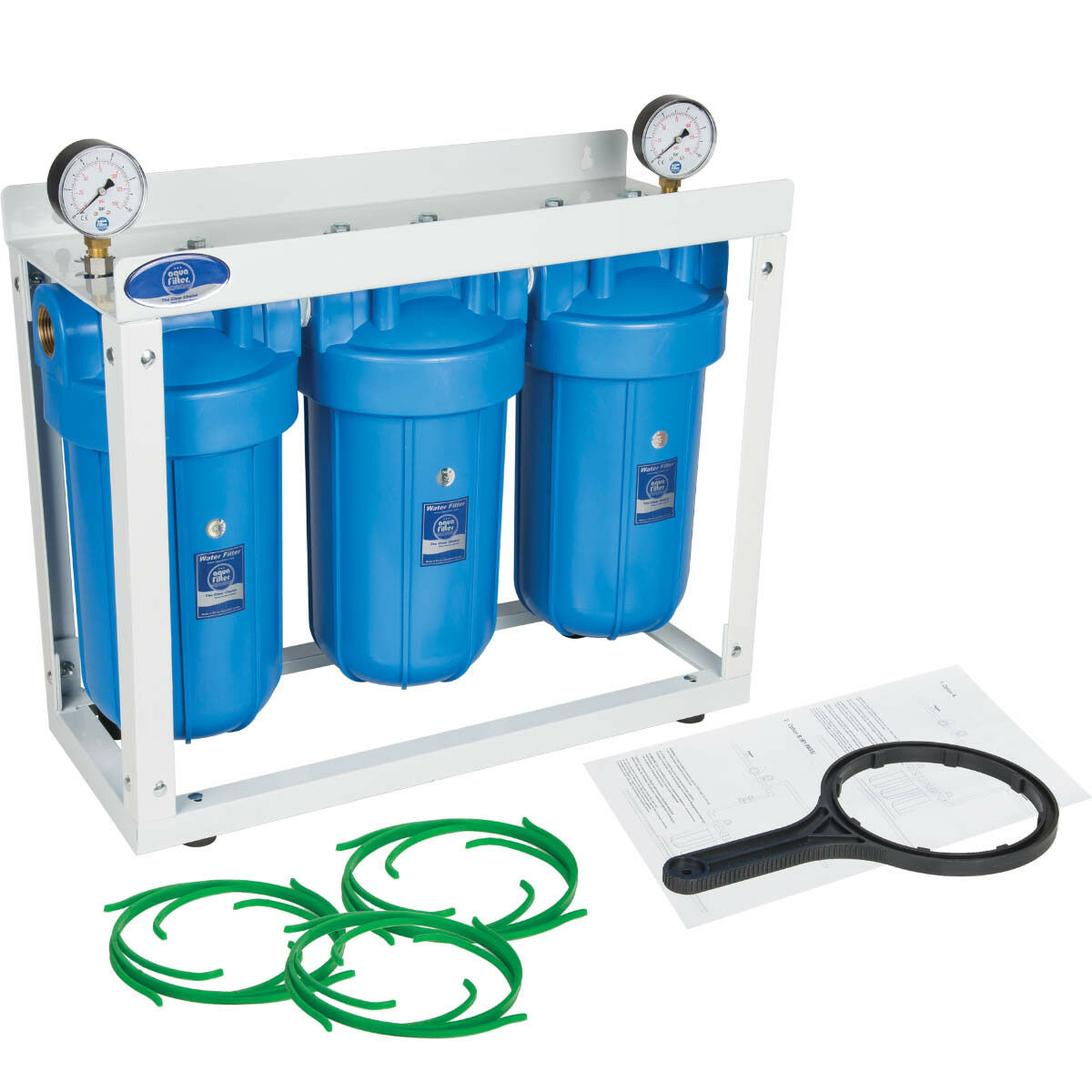 AQUAFILTER 10  Big Blau BB 3-Stage Whole House Water Filter System Housing