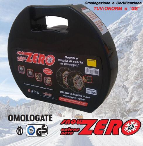 CATENE DA NEVE OMOLOGATE 9mm MISURA 195//55 R16 195//55//16 195 55 16 GR 8